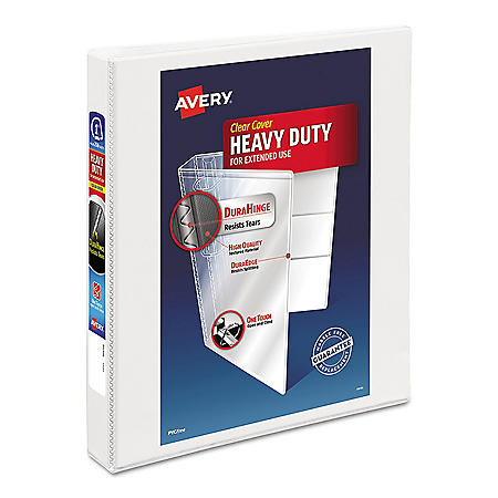 "Avery Heavy-Duty View Binder with DuraHinge and Locking One Touch EZD Rings, 3 Rings, 1.5"" Capacity, 11 x 8.5, White"