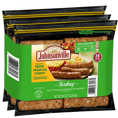Johnsonville Fully Cooked Breakfast Turkey Sausage Links (48 ct.)