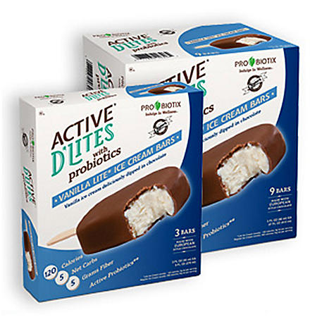 Active D'Lites Vanilla Ice Cream Bars with ProBiotics - 3 oz. bars - 9 pk.