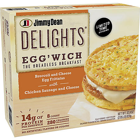 Jimmy Dean Delights Broccoli and Cheese Egg'Wich with Chicken Sausage, Frozen (8 ct.)