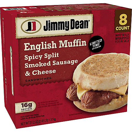 Jimmy Dean Spicy Split Smoked Sausage and Cheese Sandwiches, Frozen (8 ct.)