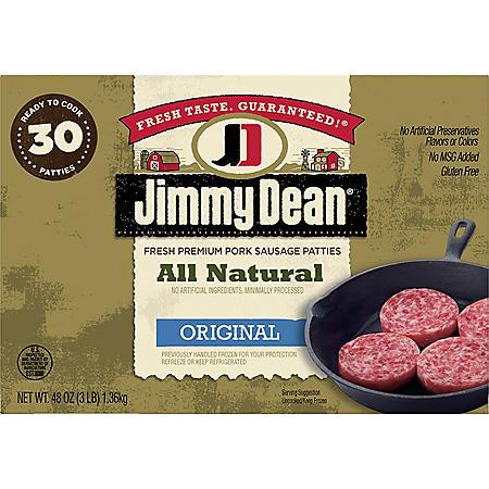 Jimmy Dean All Natural Premium Pork Sausage Patties (30 ct.)