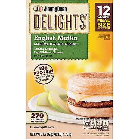 Jimmy Dean Delights Turkey Sausage, Egg White & Cheese English Muffin (61.2 oz., 12 ct.)