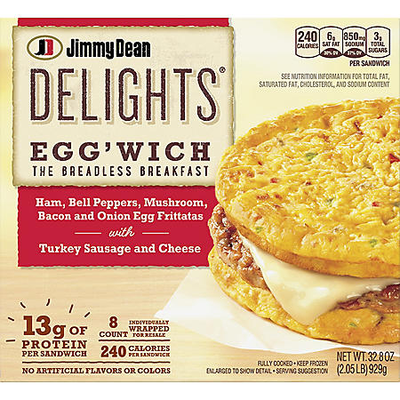 Jimmy Dean Delights Egg'wich Breakfast Frittatas, Frozen (8 ct.)