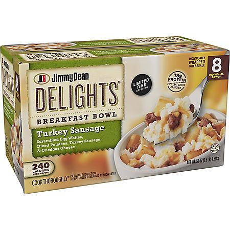 Jimmy Dean Delights Breakfast Turkey Sausage Bowl, Frozen (8 ct.)
