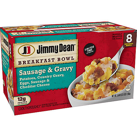 Jimmy Dean Sausage and Gravy Single-Serve Breakfast Bowls, Frozen (8 ct.)