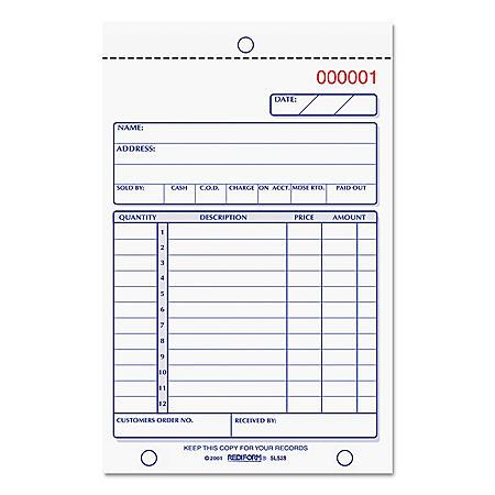 Rediform Sales Book, 4 1/4 x 6 3/8, Carbonless Triplicate, 50 Sets/Book