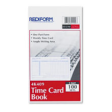 Rediform - Employee Time Card, Weekly, 4-1/4 x 7 -  100/Pad