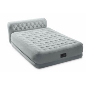 Queen Dura-Beam Series Headboard Airbed with Built-In Pump