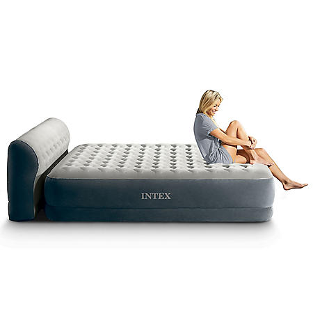 Intex Queen Dura-Beam Deluxe Series Comfort Headboard Airbed with Internal Pump