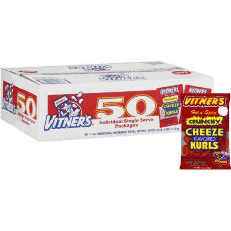 Vitner's Hot n' Spicy Cheeze Kurls - 1 oz.- 50 ct.