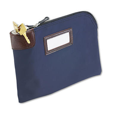 MMF Seven-Pin Security/Night Deposit Bag, Two Keys, Nylon, 11 x 8.5, Navy