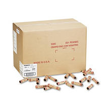 Coin-Tainer Company - Preformed Tubular Coin Wrappers, Pennies, $.50 -  1000 Wrappers/Box