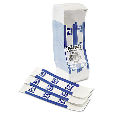 Coin-Tainer Company - Self-Adhesive Currency Straps, Blue, $100 in Dollar Bills -  1000 Bands/Box