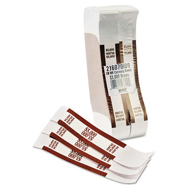 Coin-Tainer Company - Self-Adhesive Currency Straps, Brown, $5,000 in $50 Bills -  1000 Bands/Box
