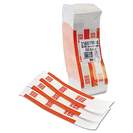 Coin-Tainer Company Self-Adhesive Currency Straps, Orange, $50 in Dollar Bills (1000 bands/box)