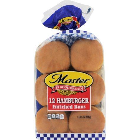 """Master 4"""" Hamburger Buns - 12 ct."""