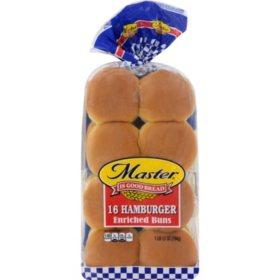 """Master 4"""" Hamburger Buns (16 ct.)"""