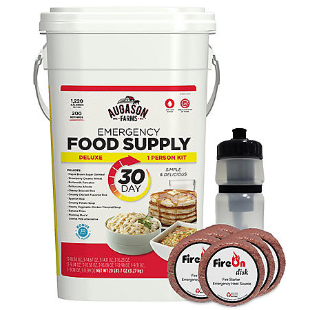 Augason Farms 30 Day Emergency Food, Fire-starter and Water Kit (1 Person)