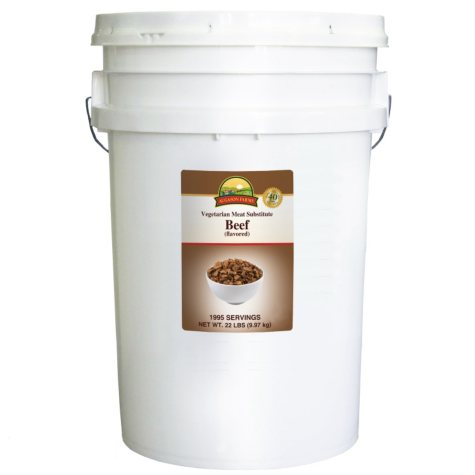 Augason Farms Vegetarian Meat Substitute Beef Pail - 22 lbs.