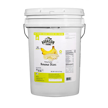 Augason Farms Honey-Coated Banana Slices (14 lb. pail)