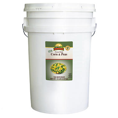 Augason Farms Freeze-Dried Corn and Peas (10 lb. pail)