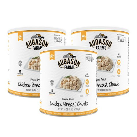 Augason Farms Freeze-Dried Chicken Breast Chunks (16 oz., 3 pk.)