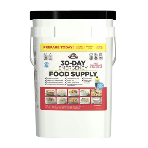 Augason Farms Emergency Food Supply Pail with Water Filtration Bottle (1 person, 30 days)
