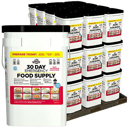 OFFLINE-Augason Farms Emergency Food Supply Pail with Water Filtration Bottle (3-person, 1 year)