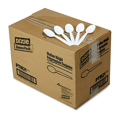 Dixie Plastic Cutlery, Medium weight Teaspoons, White -  1000/Carton