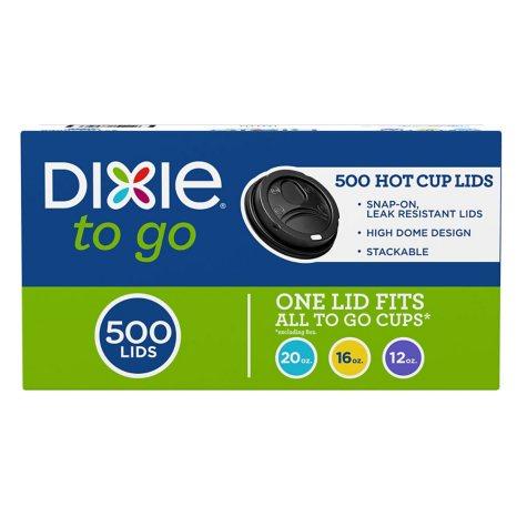 Dixie To Go® Domed Hot Cup Plastic Lids, Black, Fits 12oz./16oz./20oz. (500ct.)