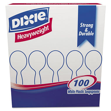 Dixie Plastic Soup Spoons, Heavyweight, White (100 ct.)