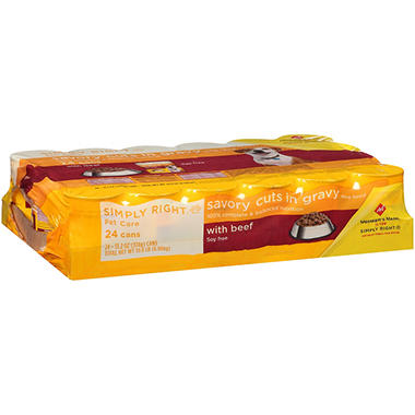 Simply Right Savory Cuts in Gravy with Beef Dog Food (13.2 oz., 24 ct.)