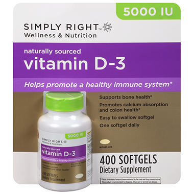 Simply Right Vitamin D-3 Dietary Supplement - 400 ct.