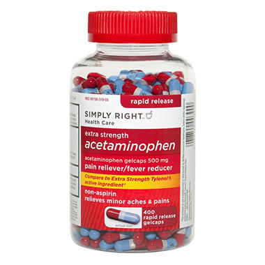 Simply Right Extra Strength Acetaminophen Rapid Release Gelcaps - 400 ct.