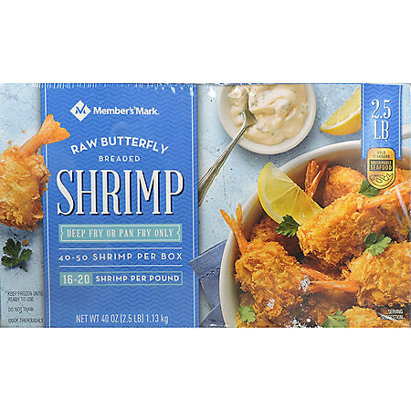 Member's Mark Raw Butterfly Breaded Shrimp, Frozen (2.5 lbs.)