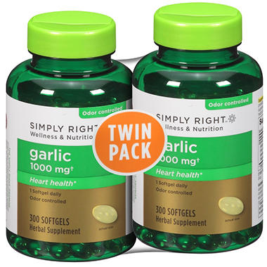 Simply Right™ Garlic Herbal Supplement - 300 ct. - 2 pk.