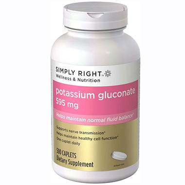 Simply Right Potassium Gluconate Dietary Supplement - 500 ct.