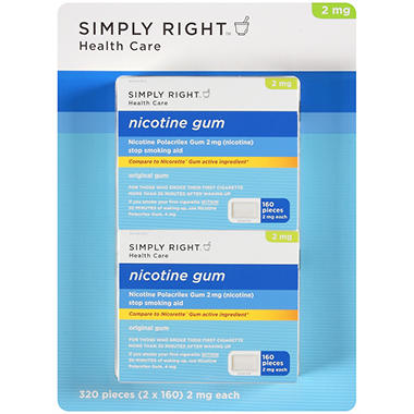 Simply Right Original Nicotine Gum (160 pc., 2 pk.)
