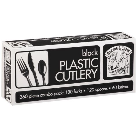 Bakers & Chefs Black Plastic Cutlery Combo Pack - 360 pcs.