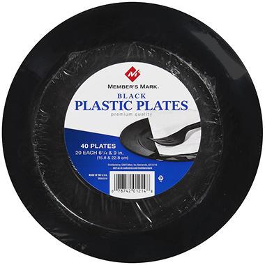 Memberu0027s Mark® Black Plastic Plates Combo Pack - 40 ...  sc 1 st  Samu0027s Club & Memberu0027s Mark® Black Plastic Plates Combo Pack - 40 ct. - Samu0027s Club