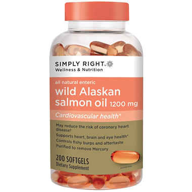 Simply Right Wild Alaskan Salmon Oil Softgels - 1200 mg - 200 ct.