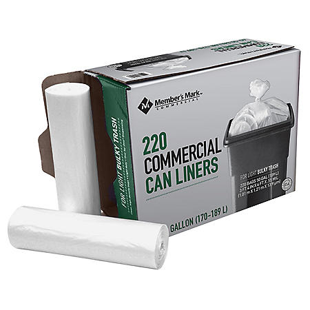 Member's Mark 45-50 Gallon Commercial Trash Bags (10 rolls of 22 ct., total 220 ct.)