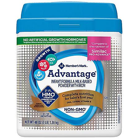 Member's Mark HMO Non-GMO Infant Formula, Advantage (48 oz.)