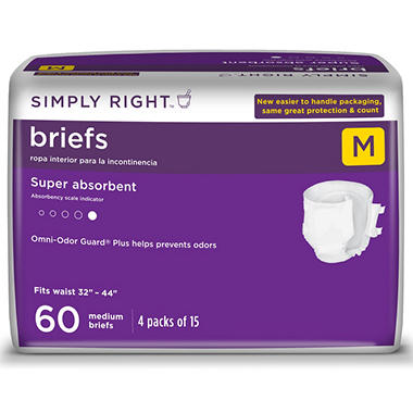 Simply Right Unisex Briefs - Medium - 60 ct.