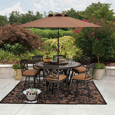 Members MarkR Heirloom Bay Slate Dining Set With Premium SunbrellaR Fabric