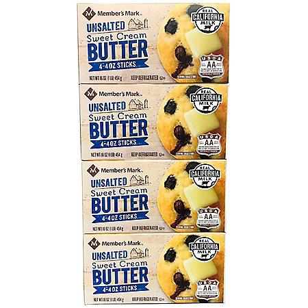 Member's Mark Unsalted Sweet Cream Butter (4 oz. Elgin-Style Sticks, 16 ct.)
