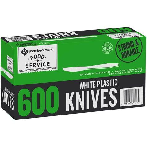 Member's Mark Plastic Knives, Heavyweight, White (600 ct.)