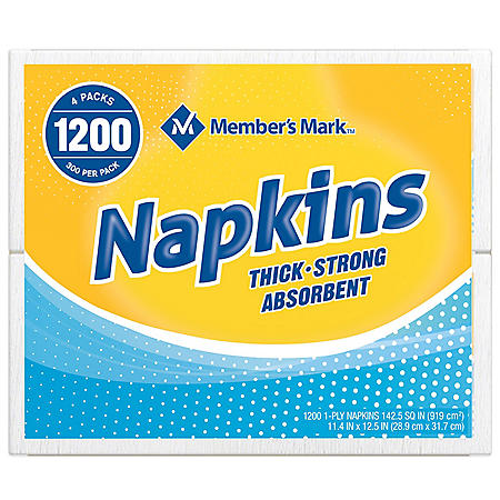 "Member's Mark 1-Ply Everyday White Napkins, 11.4"" x 12.5"" (4 pk., 300 ct. per pack)"