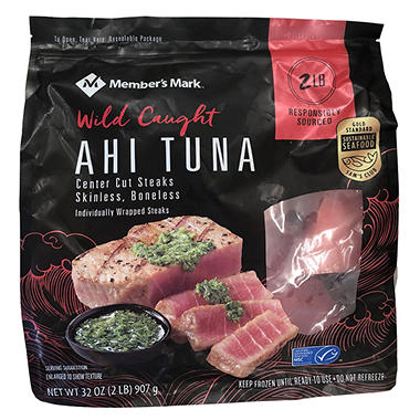 Member's Mark Center-Cut Ahi Tuna Steaks by Treasures of the Sea (2 lbs.)